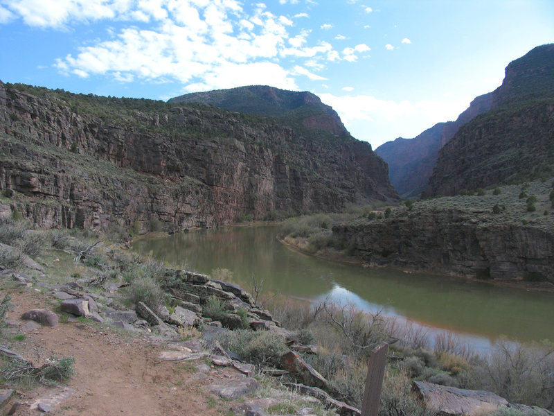 The hiking trail at the Gates of Lodore in Dinosaur National Monument.  There is Park Service campground near the raft launching site on the Green River.  The road junction leading to this canyon is a short distance SE of the turnoff to CO Rd 10N.