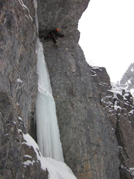 Tourist Trap, Great climb, the ice was fat at the time, the traverse is tricky but has some fixed gear which helps, a few finger size cams can be handy. WI4/5 M5