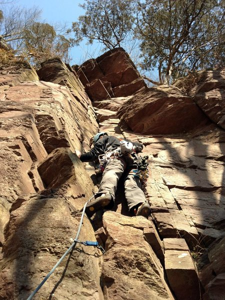 Frank on pitch 1 of Three Buttresses.