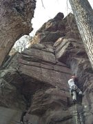 Rock Climbing Photo: Brett leads pitch 1 of Hawk's Nest.