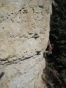 Rock Climbing Photo: lee doin a sunny lap