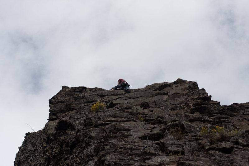Jeff climbing at the Dikes