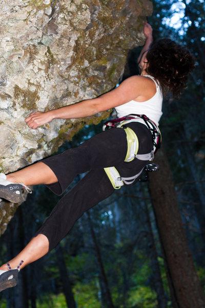 M climbing an overhang at the Dikes