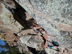 Rock Climbing Photo: Steve Babits starts Beta Licker belayed by Jan Bab...
