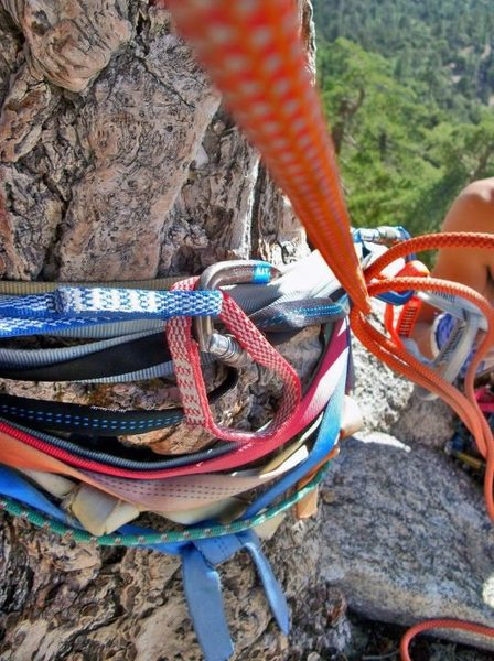 Ridiculous amount of webbing for rappel up in Tahquitz, CA