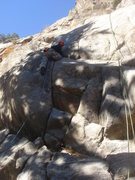 Rock Climbing Photo: On the jugs, just past the crux.  Photo by Cory Ba...