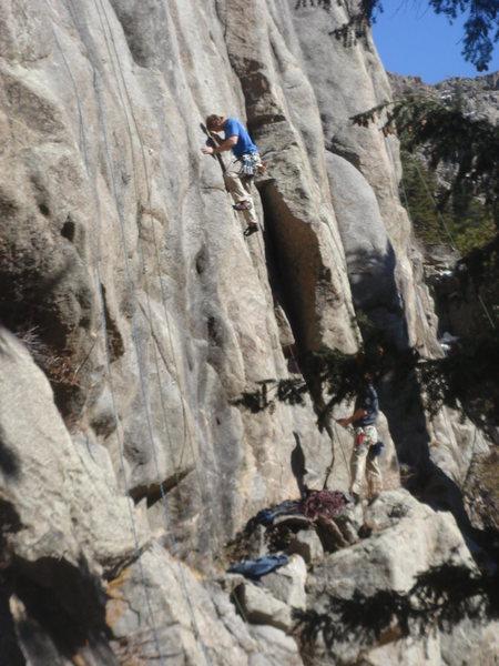 Rock Climbing Photo: Joe leading the Minstrel.
