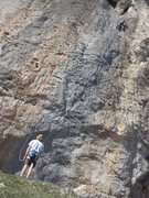 Rock Climbing Photo: 'Saint Georges Picos' is on the left. Anne is clim...