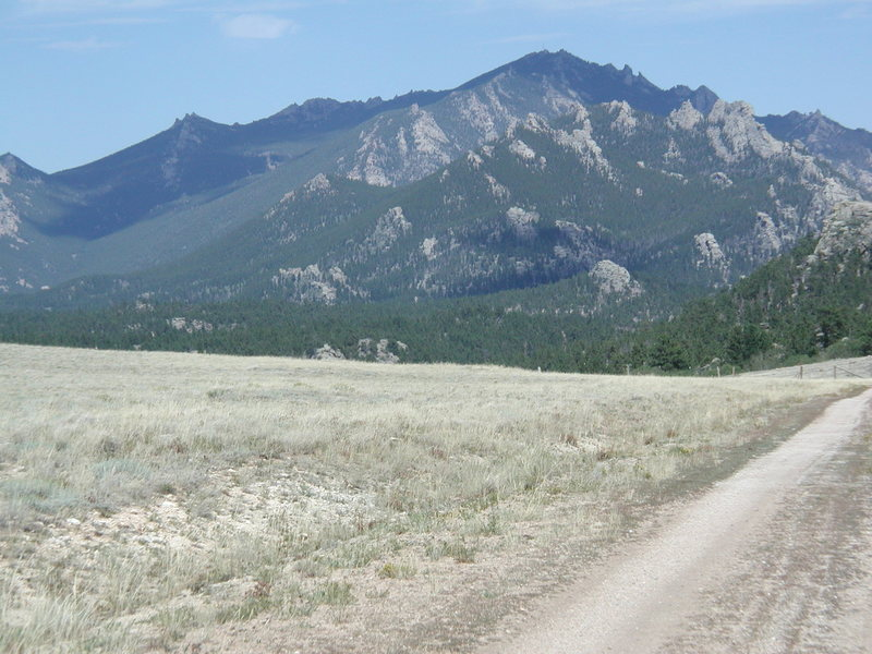 Laramie Peak from the SW on Bear Gulch Road.  The mountain in the foreground is South Mountain