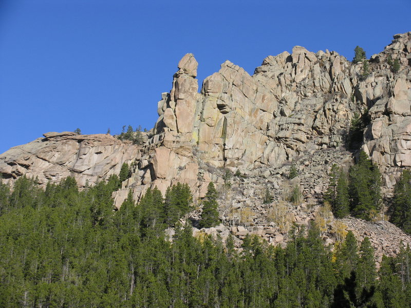 Friend Creek Pinnacle as seen from Friend Creek Falls on the Laramie Peak Trail