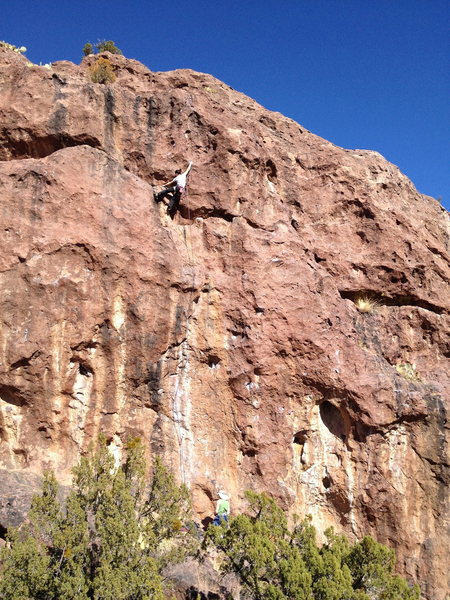Linda Wong making the last hard, long move onto the upper head wall.
