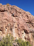 Rock Climbing Photo: Linda Wong making the last hard, long move onto th...