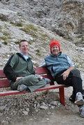 Rock Climbing Photo: After a climb.  Demetz Hut, below the Funfingerspi...