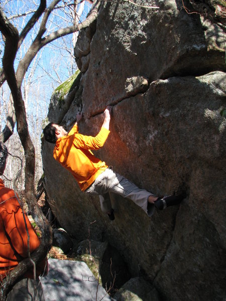 Rock Climbing Photo: Derek wondering what to go for on the partially cl...