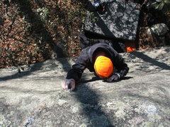 Rock Climbing Photo: Orange Man crystal pinching up the steep slab