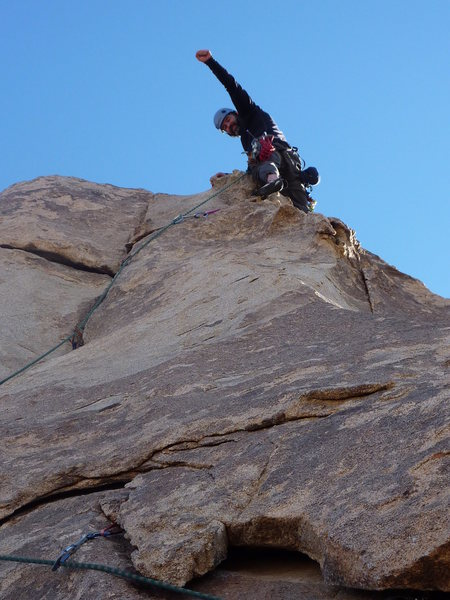 """My first """"real"""" trad lead on Granny Goose with Jen Blackie belaying me"""