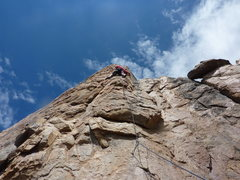 Rock Climbing Photo: Me leading Bye Crackie with Frank belaying me.  Ty...