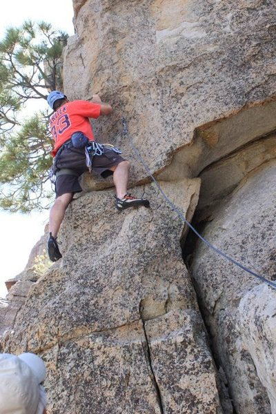 Me on eight second ride with Frank belaying me...Man too short won't do again