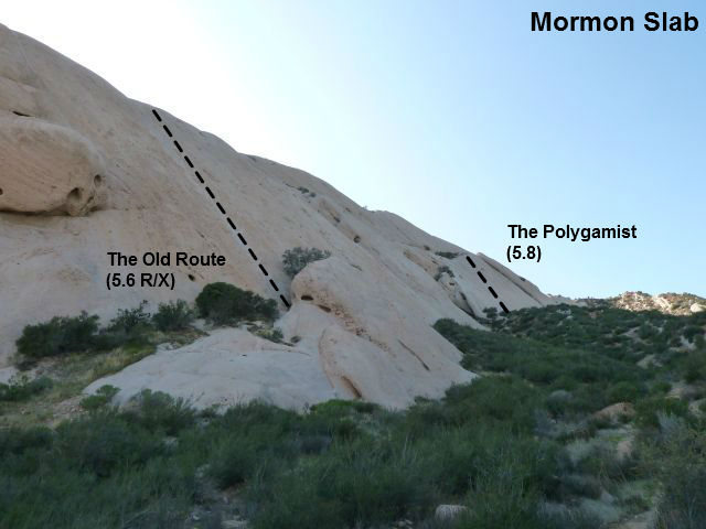 Photo/topo for Mormon Slab, Mormon Rocks