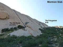 Rock Climbing Photo: Photo/topo for Mormon Slab, Mormon Rocks