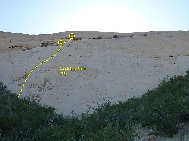 Sandstone Balls (5.8), Mormon Rocks