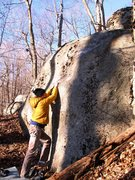 """Rock Climbing Photo: Travis on the start to """"Fireplace Mantle&quot..."""