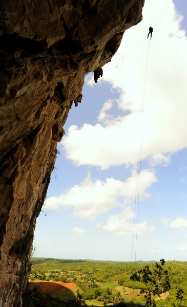 Steep rappelling at La Costenera.