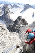 Rock Climbing Photo: Rappelling from the summit of Bugaboo Spire.