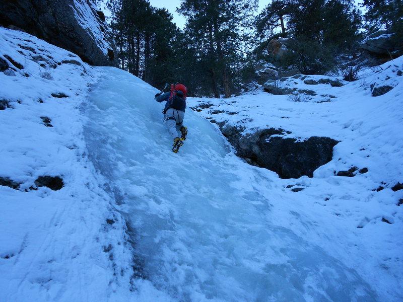 Russ Morgenstern climbing Lower Falls.