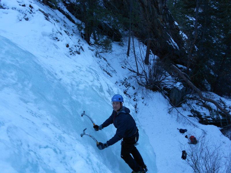 Kyle climbing Upper Falls.