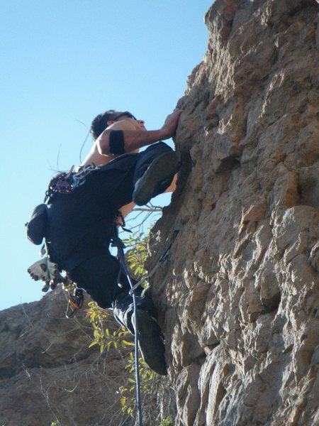 Rock Climbing Photo: topping out on first headwall