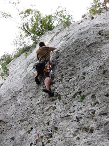 Rock Climbing Photo: John climbing La Torre's first pitch at Monte Cucc...