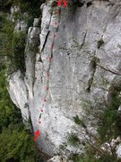 Rock Climbing Photo: Location of La Torre's first pitch start and belay...