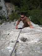 Rock Climbing Photo: Coming up the classic Moby Dick at Monte Cucco.