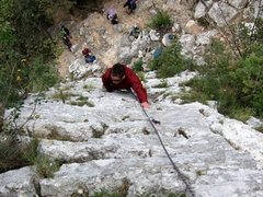 Rock Climbing Photo: Coming up the first pitch of Miguel at Monte Cucco