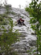 Rock Climbing Photo: Second pitch of Miguel.  John gettin' er done.
