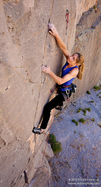"Rock Climbing Photo: Leah Sandvoss working the crux of ""Serial Dri..."