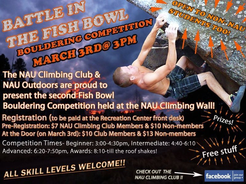 NAU Bouldering competiton March 3rd!
