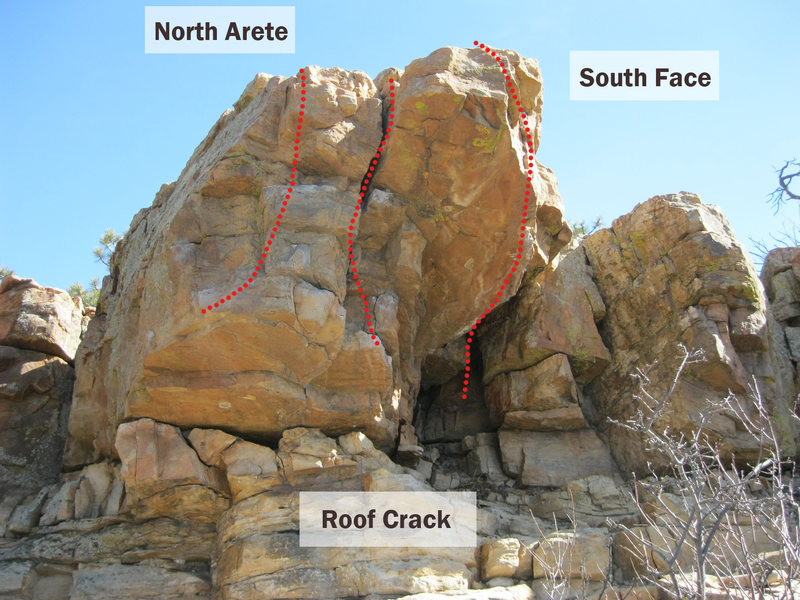 "Piano Ridge ""Unknown Roof"" with three approximate routes: North Arete, Roof Crack, and South Face.  Many variations not shown."