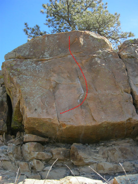 Bootie (approx. route). Start with feet on broken rocks beneath the undercut.