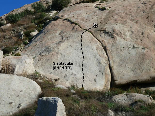 Rock Climbing Photo: Slabtacular (5.10d), Lake Perris SRA