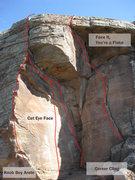 Rock Climbing Photo: Cat Eye alcove routes (L->R): Knob Boy Arete, C...
