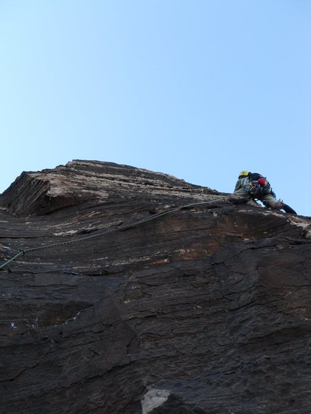 Rock Climbing Photo: Leading the last pitch of Geronimo