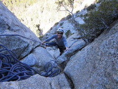 Rock Climbing Photo: Kendall cleaning the 3rd pitch of Angels Fright, T...