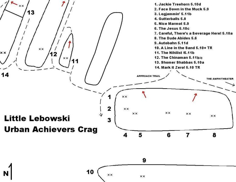 Map showing the Little Lebowski Urban Achievers Crag and environs