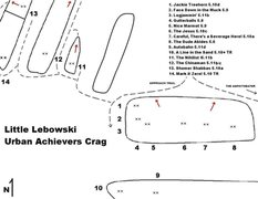 Rock Climbing Photo: Map showing the Little Lebowski Urban Achievers Cr...