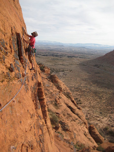 Amazing February climbing! Taken from the belay station between p1 and 2. Traverse sections make for great pictures. Down with climbing butt shots!