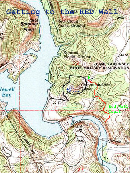 Map of Hike to Red Wall