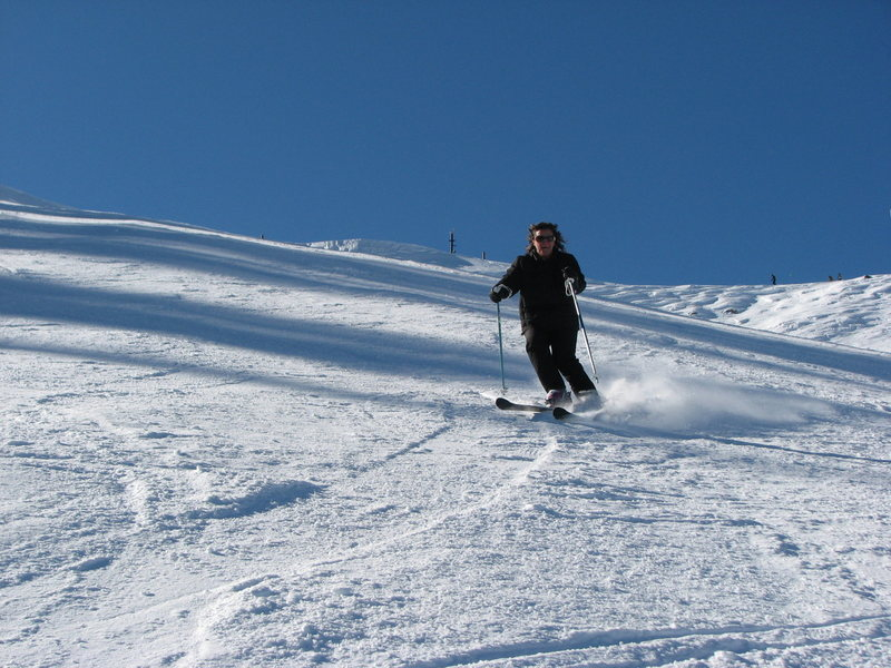 My Wife doing turns at Alpine Meadows.