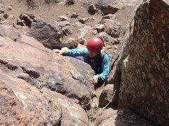 Rock Climbing Photo: Deb starts Oxymoron.  Useful gear included: #0.5, ...